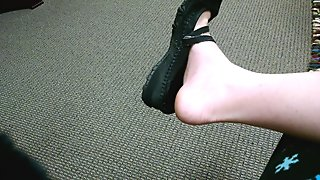 Public Shoe Play at the Doctor's Office in Black Flats Sandals Sexy Feet