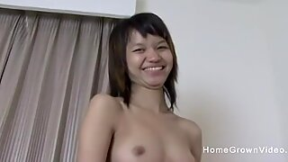 Petite hairy Thai amateur cannot handle a big cock