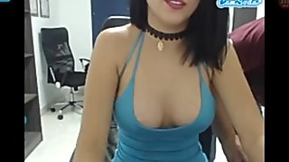 MARTINA in sexy blue dress fingering at work and put plug in her ASS part 1