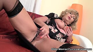 European gilf Ellis Shine works her shaven pussy