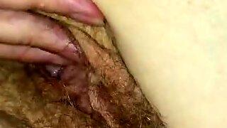 Fingering that hairy twat