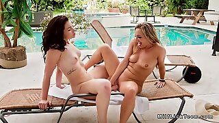 Poolside old vs young lesbian sex