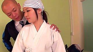 Cosplay Mibu Sayaka kendo porn gets facialized