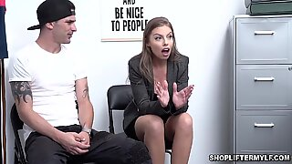 Britney Amber submits to officer Tommy Gunn to avoid her stepson got into jail
